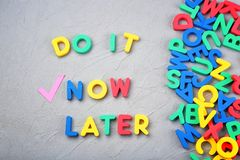 Words composed from letters on textured background. Time management concept royalty free stock image