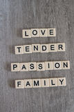 Words connected to love and family formed with plastic letters Royalty Free Stock Photography