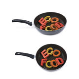 Words in a cooking pan isolated Royalty Free Stock Images