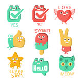Words And Corresponding Illustrations, Cartoon Character Items With Eyes Illustrating The Text Emoji Set. Royalty Free Stock Photo