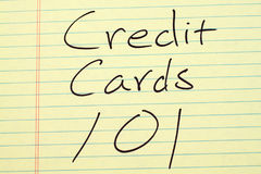 Credit Cards 101 On A Yellow Legal Pad. The words `Credit Cards 101` on a yellow legal pad royalty free stock photos