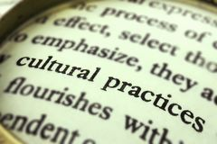 The words `Cultural practices` read through a magnifying glass. The group of words `Cultural practices` emphasized by a magnifying glass and wrapped around with Royalty Free Stock Image