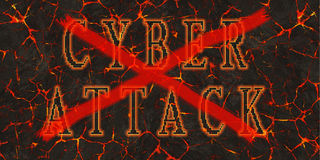 Words cyber attack red crossed written on red lava.  Royalty Free Stock Photography