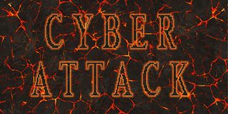 Words cyber attack written on red lava.  Royalty Free Stock Images