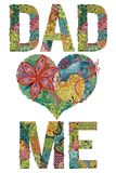 Words DAD LOVE ME. Vector decorative zentangle object. Hand-painted art design. Hand drawn illustration words DAD LOVE ME for t-shirt and other decoration stock illustration
