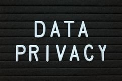 The phrase Data Privacy in white text on a letter board Stock Photography