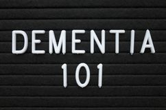 The words Dementia 101 on a letter board Stock Images