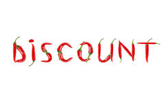 The words DISCOUNT written with red chili peppers Stock Photography