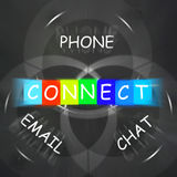 Words Displays Connect by Phone Email or Chat Royalty Free Stock Images