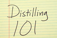 Distilling 101 On A Yellow Legal Pad. The words `Distilling 101` on a yellow legal pad royalty free stock photo