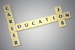 Words education, career and job on a gray background Royalty Free Stock Image