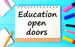 The words Education open doors Stock Images