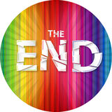 Words the end on the rainbow background Royalty Free Stock Photo