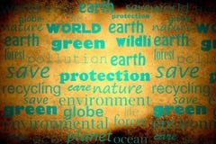 Words on environmental protection Stock Photos