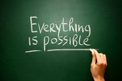 Words Everything is possible written on blackboard. Concept stock photography