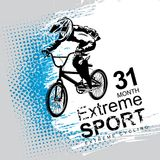 Words Extreme sport and a cyclist on the bike. Vector banner or flyer with words Extreme sport and a cyclist on the bike. Abstract poster of BMX competitions vector illustration