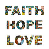 Words faith, hope, love zentangle stylized on white background, Stock Images