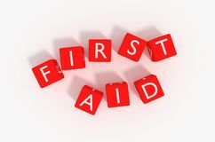 First aid rendered on red cubes with a white background. royalty free illustration