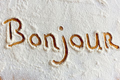 Words in flour Stock Photos