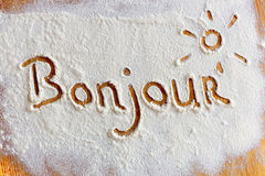 Words in flour Royalty Free Stock Photos