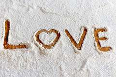 Words in flour Stock Photography
