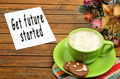 The words Get future started on paper. The words Get future started on white paper royalty free stock photos