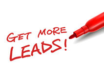 The words get more leads with a red marker. Over white Stock Photography