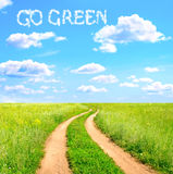 Words Go Green in the clouds Royalty Free Stock Images