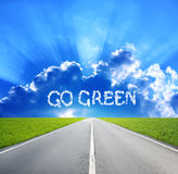 Words Go Green in the clouds Royalty Free Stock Photo