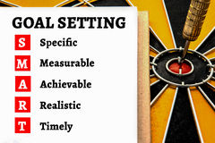 Words goal setting and smart with dart target Stock Images