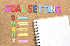 Words goal setting and smart with notebook. Smart goal and success concept for personal and business royalty free stock photography