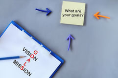 Words of goals, vision and mission on notepad Royalty Free Stock Images