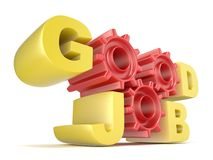 The words GOOD JOB in 3D letters and gear wheels Royalty Free Stock Images