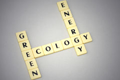 Words green, ecology and energy on a gray background Royalty Free Stock Photography