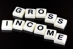 The Words Gross Income - A Term Used For Business in Finance and Stock Market Trading. The Words Gross Income Spelled Out With White Tiles On Black Background Stock Photo