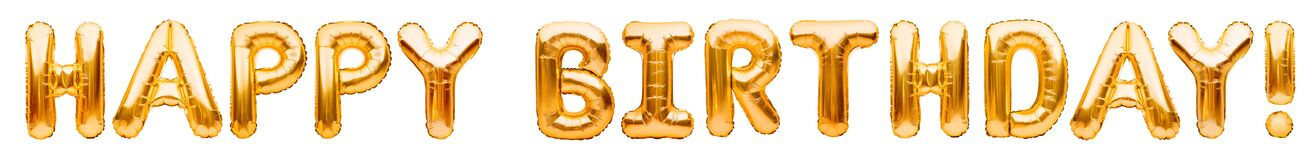 Words HAPPY BIRTHDAY made of golden inflatable balloons isolated on white background. Gold foil helium balloons forming phrase.