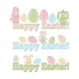 Words HAPPY EASTER! with cute easter eggs and bunnies Royalty Free Stock Photos