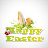 Words Happy Easter with fresh grass, ears of bunny Stock Photos
