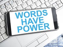Words Have Power, Motivational Words Quotes Concept. Words Have Power, business motivational inspirational quotes, words typography lettering concept marketing royalty free stock photos