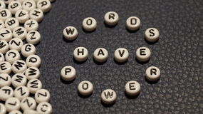 Words have power on circle plastic blocks. Photo Stock Image