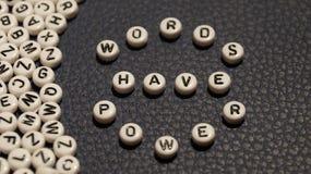 Words have power on circle plastic blocks. stock image