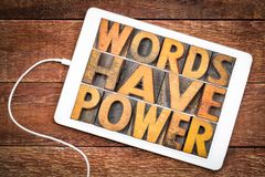 Words have power message in wood type. Words have power message in vintage letterpress wood type on a digital tablet stock image