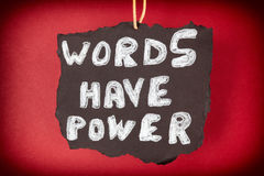 Words have power. Red background royalty free stock photography