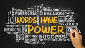 Words have power with related word cloud hand drawing on blackbo Royalty Free Stock Photography