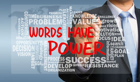 words have power with related word cloud hand drawing by businessman royalty free stock images