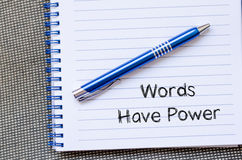Words have power text concept on notebook Royalty Free Stock Photos
