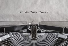 Free Words Have Power Typed On Old Vintage Aged Typewriter Royalty Free Stock Images - 109876249