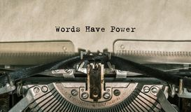 Words Have Power words typed on a Vintage Typewriter. Close-up stock images