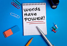 Words have power word on notebook Royalty Free Stock Images