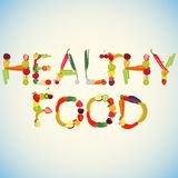 Words Healthy Food made of fruits and vegetables Stock Image